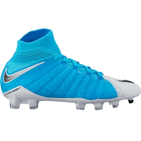 Nike Youth Hypervenom Phantom III DF FG Soccer Cleats (White/Black/Photo Blue/Chlorine Blue)