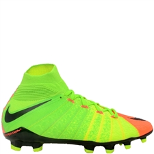 Nike Youth Hypervenom Phantom III DF FG Soccer Cleats (Electric Green/Black/Hyper Orange/Volt)
