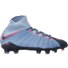 Nike Youth Hypervenom Phantom III DF FG Soccer Cleats (Light Armory Blue/Armory Navy/Armory Blue)