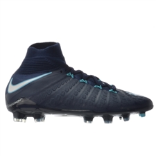 Nike Youth Hypervenom Phantom III DF FG Soccer Cleats (Obsidian/White/Gamma Blue/Glacier Blue)
