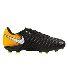Nike Youth Tiempo Ligera IV FG Soccer Cleats (Black/White/Laser Orange/Volt)