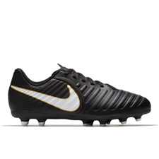 Nike Youth Tiempo Rio IV FG Soccer Cleats (Black/White)