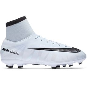 Nike Youth Mercurial Victory VI CR7 DF FG Soccer Cleats (Blue Tint/Black/White)