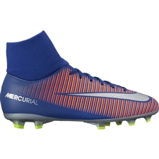 Nike Youth Mercurial Victory VI DF FG Soccer Cleats (Deep Royal Blue/Chrome/Total Crimson)