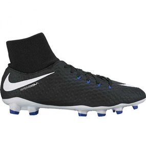 Nike Youth Hypervenom Phelon III DF FG Soccer Cleats (Black/White/Game Royal)