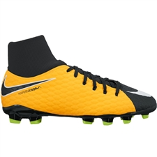 Nike Youth Hypervenom Phelon III DF FG Soccer Cleats (Laser Orange/White/Black/Volt)