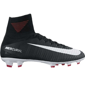 Nike Youth Mercurial SuperFly V FG Soccer Cleats (Black/White/Cool Grey/Stadium Green)