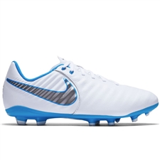 Nike Youth Legend VII Academy FG Soccer Cleats (White/Metallic Cool Grey/Blue Hero)
