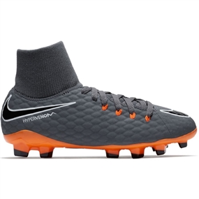Nike Youth Hypervenom Phantom III Academy DF FG Soccer Cleats (Dark Grey/Total Orange/White)