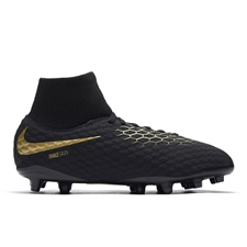Nike Youth Hypervenom Phantom III Academy DF FG Soccer Cleats (Black/Metallic Vivid Gold)