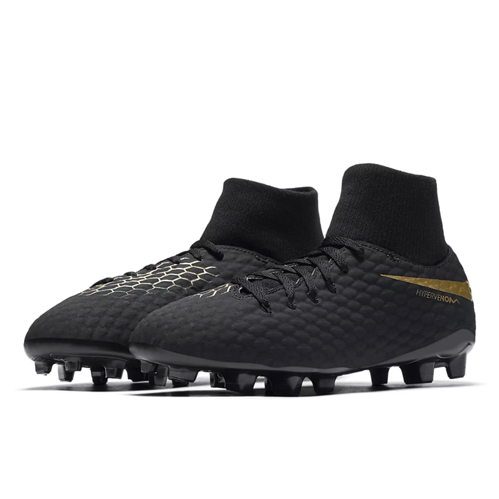 914fe38f029 Nike Youth Hypervenom Phantom III Academy DF FG Soccer Cleats (Black Metallic  Vivid Gold)