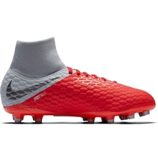 Nike Youth Hypervenom III Academy DF FG Soccer Cleats (Light Crimson/Metallic Dark Grey/Wolf Grey)