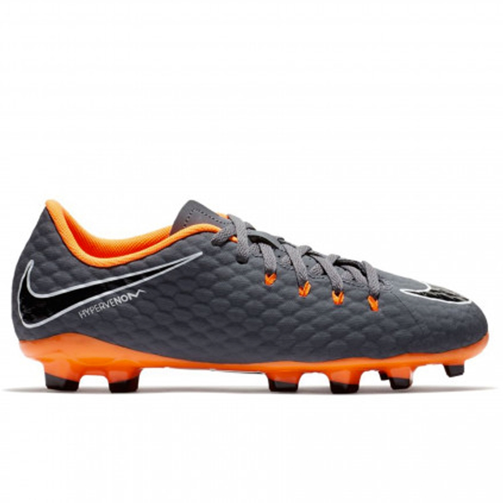 uk availability a776e 4aa0c ... Nike Youth Hypervenom Phantom III Academy FG Soccer Cleats (Dark Grey Total  Orange  ...