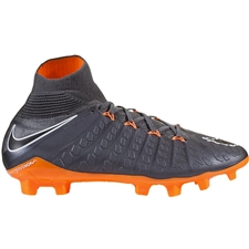 Nike Youth Hypervenom Phantom III Elite DF FG Soccer Cleats (Dark Grey/Total Orange/White)