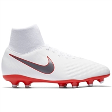 Nike Youth Obra II Academy DF FG Soccer Cleats (White/Metallic Cool Grey/Light Crimson)