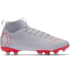 Nike Youth Superfly VI Academy MG Soccer Cleats (Wolf Grey/Light Crimson/Pure Platinum)