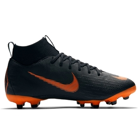 Nike Youth Mercurial Superfly VI Academy FG / MG Soccer Cleats (Black/Total Orange/White)