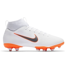 Nike Youth Superfly VI Academy MG Soccer Cleats (White/Metallic Cool Grey/Total Orange)