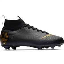 Nike Youth Superfly 6 Elite FG Soccer Cleats (Black/Metallic Vivid Gold)