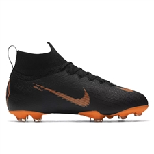 Nike Youth Mercurial Superfly VI Elite FG Soccer Cleats (Black/Total Orange/White)