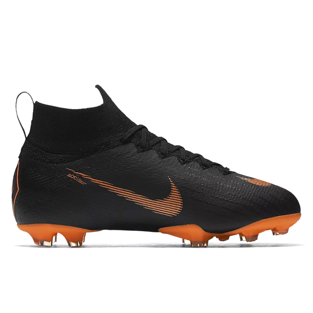 Nike Youth Mercurial Superfly VI Elite FG Soccer Cleats (BlackTotal  OrangeWhite