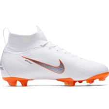 Nike Youth Superfly VI Elite FG Soccer Cleats (White/Metallic Cool Grey/Total Orange)