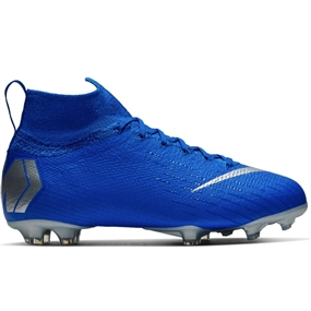 Nike Youth Superfly 6 Elite FG Soccer Cleats (Racer Blue/Metallic Silver/Black/Volt)