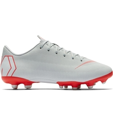 Nike Youth Vapor XII Academy MG Soccer Cleats (Wolf Grey/Light Crimson/Pure Platinum)
