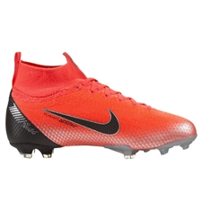 Nike Youth Superfly VI Elite CR7 FG Soccer Cleats (Flash Crimson/Black/Chrome/Dark Grey)