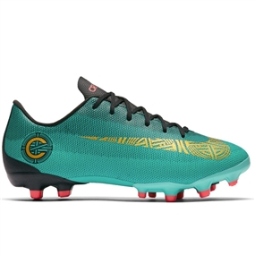Nike Youth Vapor XII Academy CR7 FG/MG Soccer Cleats (Clear Jade/Metallic Vivid Gold/Black)