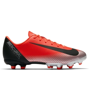 Nike Youth Vapor 12 Academy CR7 MG Soccer Cleats (Bright Crimson/Black/Chrome/Dark Grey)