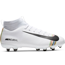 Nike Youth Superfly 6 Academy MG Soccer Cleats (White/Black/Pure Platinum)