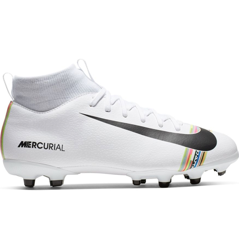 buy popular 31440 249da Nike Youth Superfly 6 Academy MG Soccer Cleats (White/Black/Pure Platinum)