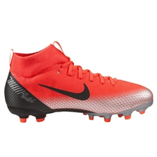 Nike Youth Superfly VI Academy CR7 MG Soccer Cleats (Bright Crimson/Black/Chrome/Dark Grey)