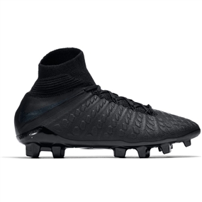 Nike Youth Hypervenom III Elite DF FG Soccer Cleats (Black)