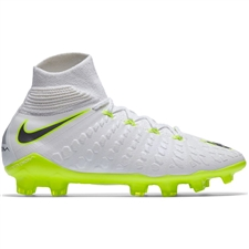 Nike Youth Phantom III Elite DF FG Soccer Cleats (White/Metallic Cool Grey/Volt)