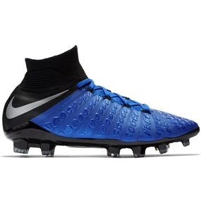 Nike Youth Hypervenom 3 Elite DF FG Soccer Cleats (Racer Blue/Metallic Silver/Black/Volt)