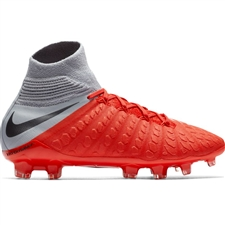 Nike Youth Hypervenom III Elite DF FG Soccer Cleats (Light Crimson/Metallic Dark Grey/Wolf Grey)