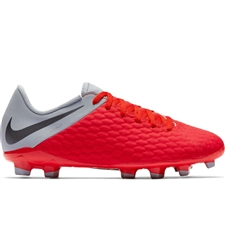 Nike Youth Hypervenom III Academy FG Soccer Cleats (Light Crimson/Metallic Dark Grey/Wolf Grey)
