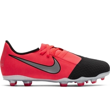 Nike Youth Phantom Venom Academy FG Soccer Cleats (Laser Crimson/Metallic Silver/Black)