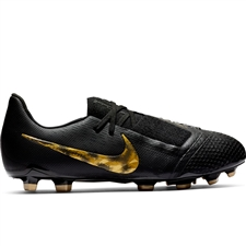 Nike Youth Phantom Venom Elite FG Soccer Cleats (Black/Metallic Vivid Gold)