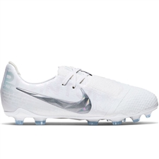Nike Youth Phantom Venom Elite FG Soccer Cleats (White/Metallic Platinum)