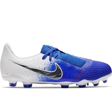 Nike Youth Phantom Venom Elite FG Soccer Cleats (White/Black/Racer Blue)