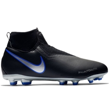 Nike Youth Phantom Vision Academy DF FG/MG Soccer Cleats (Black/Metallic Silver/Racer Blue)