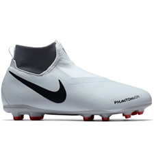 Nike Youth Phantom Vision Academy DF FG/MG Soccer Cleats (Pure Platinum/Black/Light Crimson/Dark Grey)