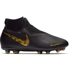 Nike Youth Phantom Vision Academy DF FG/MG Soccer Cleats (Black/Metallic Vivid Gold)