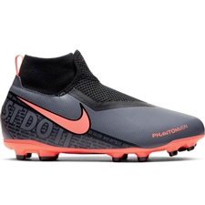 Nike Youth Phantom Vision Academy DF MG Soccer Cleats (Dark Grey/Bright Mango/Black)