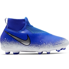 Nike Youth Phantom Vision Academy DF MG Soccer Cleats (Racer Blue/Chrome/White)