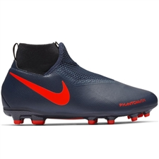 Nike Youth Phantom Vision Academy DF MG Soccer Cleats (Obsidian/Bright Crimson/Black)