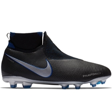 Nike Youth Phantom Vision Elite DF FG/MG Soccer Cleats (Black/Metallic Silver/Racer Blue)